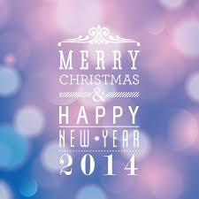 merry and happy new year 2014 font design vector free