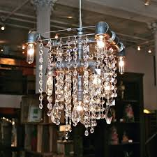 Industrial Crystal Chandelier Industrial Glam Chandelier Chandeliers Pinterest Lamp Entree