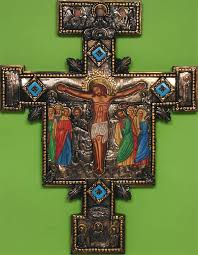 san damiano crucifix large san damiano cross with turquoise stones antique patina