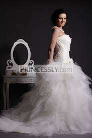 strapless lace appliqued drop waist feathered ball gown skirt