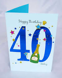 happy 40th birthday card for him mens male blue verse poem luxury
