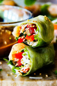 fresh shrimp spring rolls with pineapple peanut hoisin sauce and
