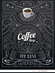 coffee shop doodle logo with ornaments vector