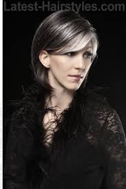 funky hairstyle for silver hair silver highlights on cool brunette side i like the color contrast