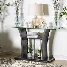Glass Sofa Table Furniture Of America Adrian Grey Beveled Glass Top Sofa Table