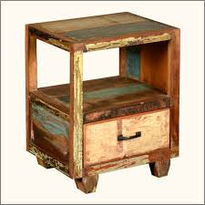 Distressed Wood End Table Bedroom Furniture Stylish Reclaimed Wood Nightstand Reclaimed
