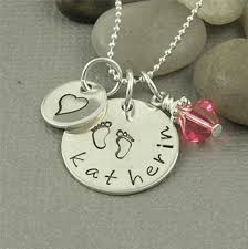 Stamped Name Necklace New Baby Mommy Name Necklace Hand Stamped By Bawstampeddesigns