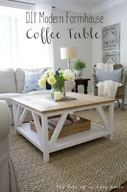 best 25 modern farmhouse table ideas on pinterest dining room how to build a diy modern farmhouse coffee table classic square coffee table with painted base and rustic stained table top complete with bottom shelf for