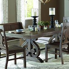trestle dining table set homelegance toulon 7 piece rectangular trestle dining room set in