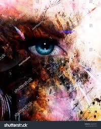 beautiful blue women eye beaming color stock illustration