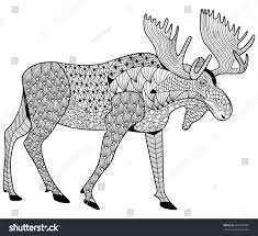 moose coloring adults zen tangle stock vector 387903901
