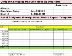 weekly status report template excel excel budgeted weekly sales status report template free report