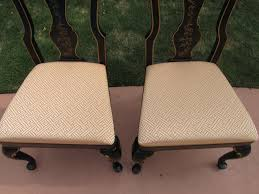 drexel chinoiserie oriental ebony side chair accent pair hollywood