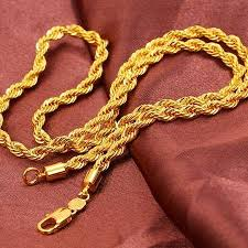 rope gold necklace images Men 39 s rope necklace knot twist yellow gold gf link chain gf jpg