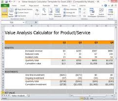 Free Cost Benefit Analysis Template Excel Value Analysis Calculator Template For Excel