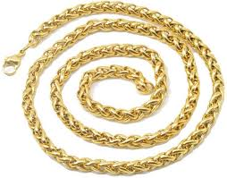 gold braided rope necklace images Men style mens 6mm thickness braided wheat link rope 21 inch long jpeg