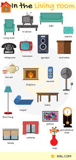 in the livingroom furniture vocabulary in rooms in a house 7 e s l