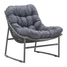 Patio Furniture Cushions Home Depot - zuo ingonish grey patio lougne chair with grey cushion 703529
