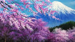cherry blossom pics the cherry blossoms in the mt fuji acrylic painting full youtube