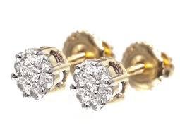mens gold stud earrings 14k yellow gold mens diamond flower cluster studs