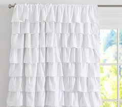 White Ruffle Curtains Blackout Panel Pottery Barn