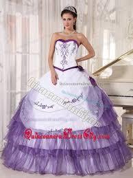 dresses for sweet 15 white and purple beading strapless floor length dresses for 15