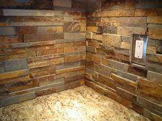 Stacked Stone Backsplash  Appliances And River Kitchen - Layered stone backsplash
