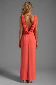 bcbgmaxazria drape neck maxi dress in coral in red lyst