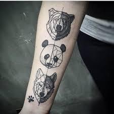 geometric tattoos animals panda bear wolf paw print ig