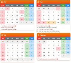 Kalender 2018 Hari Raya Idul Fitri Tanggal Hari Dalam Kalender 2017 2018 Indonesia Kuakap