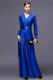 formal jumpsuit modest v neck sleeve royal blue jersey formal occasion