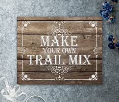 make your own trail mix printable wedding sign rustic wedding