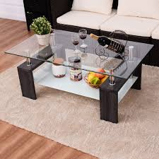 costway black rectangular tempered glass coffee table w shelf wood