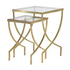 Gold Side Table Cannes Gold Glass Nest Of Side Tables Shropshire Design