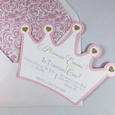 princess crown birthday invitation pink and gold by