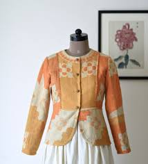 shades of orange hand made eclectic vintage jacket for women online india medium