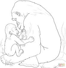 baby gorilla playing with mother coloring page free printable