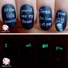 glow in the dark threat message nail art creepy stuff brain and