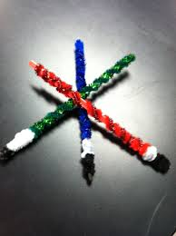 lightsaber made out of a popsicle stick pipe cleaners and a