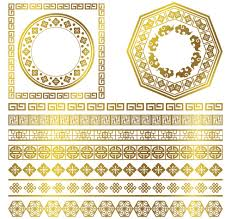 golden frame with ornaments border vector ornament