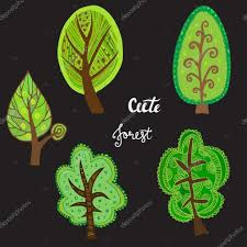 hand sketched trees set with cute forest lettering u2014 stock vector
