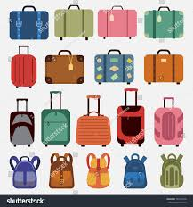 Suitcases Icons Luggage Flat Style Suitcases Backpacks Stock Vector