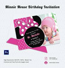 Editable 1st Birthday Invitation Card Minnie Mouse Birthday Invitation Template U2013 12 Free Psd Ai