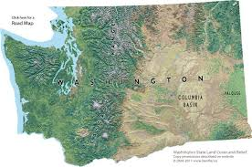 map of wa state shaded relief map of washington state