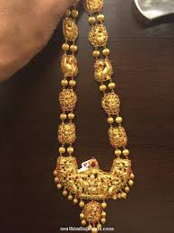 long necklace designs images Gold bridal antique long necklace south india jewels jpg