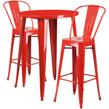 30 round bar table flash furniture 30 in round red metal indoor outdoor bar table set