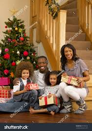 young african american family christmas tree stock photo 81741034