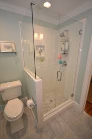 All In One Bathtub And Shower Glass Shower Enclosure With Half Wall Beside Toilet For Guest