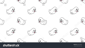 halloween colored background wallpaper ghost icon vector halloween seamless pattern stock vector
