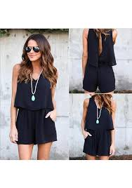 jumpsuit shorts black plain cut out pockets backless jumpsuit shorts bottoms